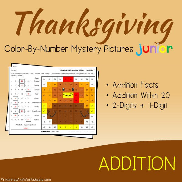 Thanksgiving Color-By-Number: Addition