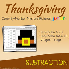 Thanksgiving Subtraction Facts Color-By-Number