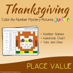 Thanksgiving Place Value Color-By-Number