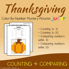 Thanksgiving Color-By-Number - Counting, Greater Than Less Than
