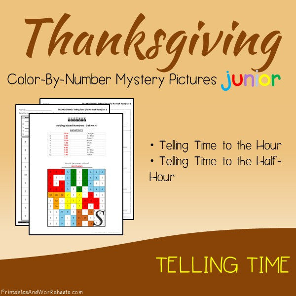 Thanksgiving Color-By-Number: Telling Time