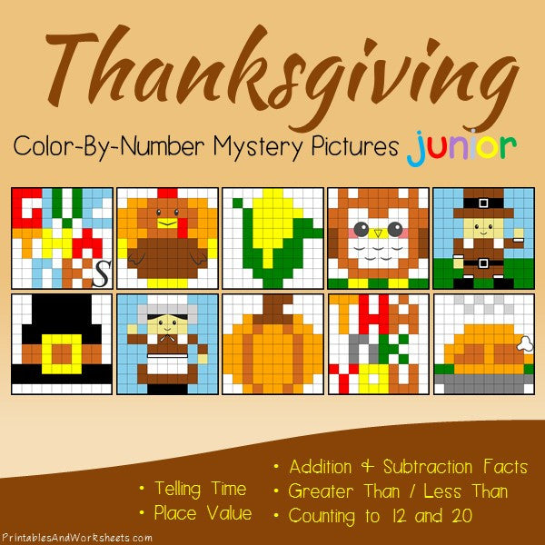 Thanksgiving Math Color-By-Number