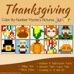 Thanksgiving Math Color-By-Number Bundle