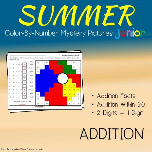 Summer Color-By-Number: Addition