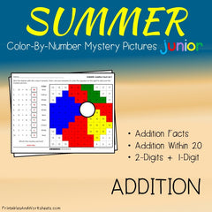 Summer Addition Facts Color-By-Number