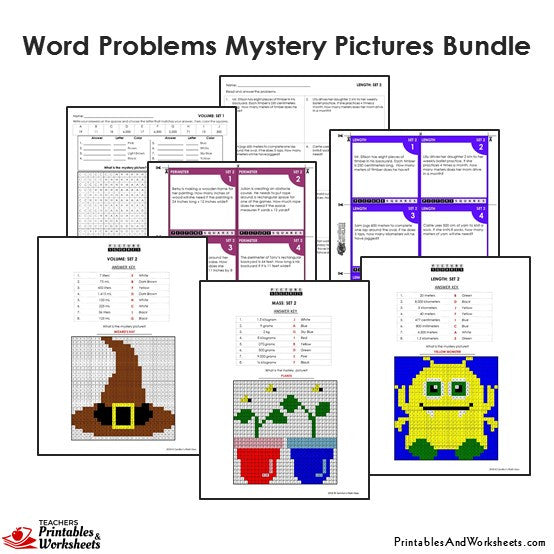 Grade 4 Word Problems Coloring Worksheets / Task Cards