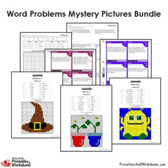 4th Grade Word Problems Mystery Pictures Coloring Worksheets/Task Cards Bundle