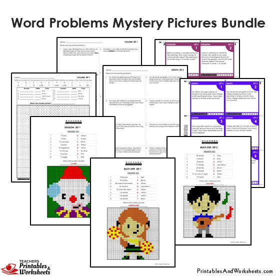 Grade 4 Word Problems Mystery Pictures Coloring Sample