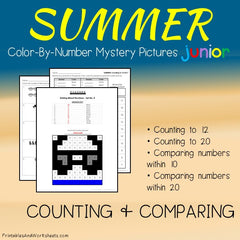 Summer Color-By-Number - Counting, Greater Than Less Than