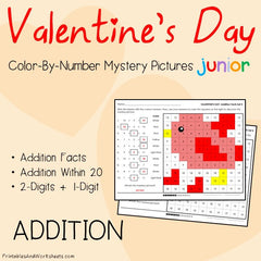 Valentine's Day Addition Facts Color-By-Number