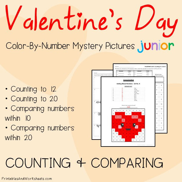 Valentine's Day Color-By-Number: Counting to 20, Greater Than/Less Than