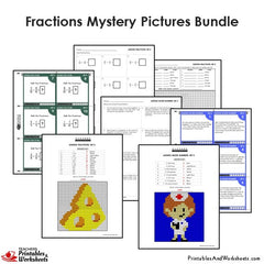 4th Grade Fraction Mystery Pictures Coloring Worksheets / Task Cards Bundle