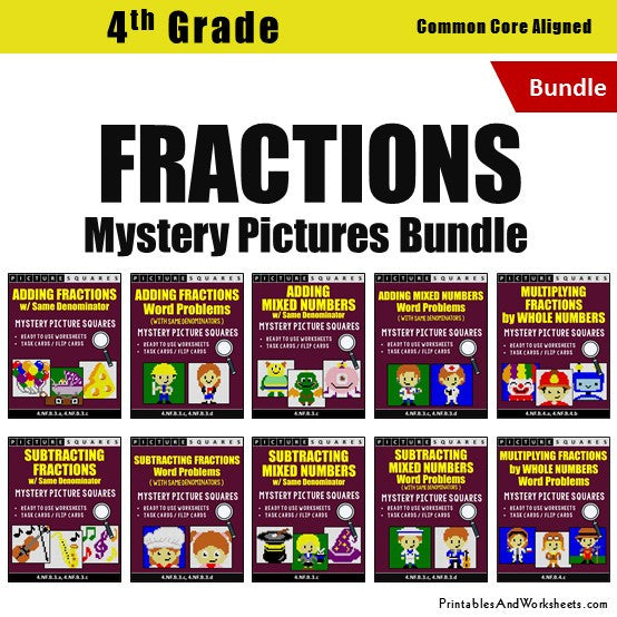 Grade 4 Fractions Mystery Pictures Coloring Worksheets / Task Cards