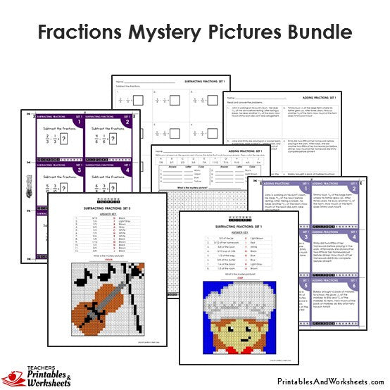 4th grade fraction mystery pictures coloring worksheets. Black Bedroom Furniture Sets. Home Design Ideas