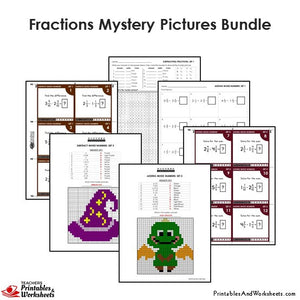 Grade 4 Fractions Mystery Pictures Coloring Worksheets / Task Cards - Sample 3