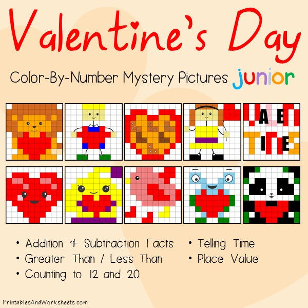 Valentine's Day Math Color-By-Number