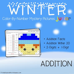 Winter Addition Facts Color-By-Number