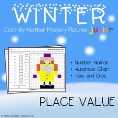 Winter Place Value Color-By-Number