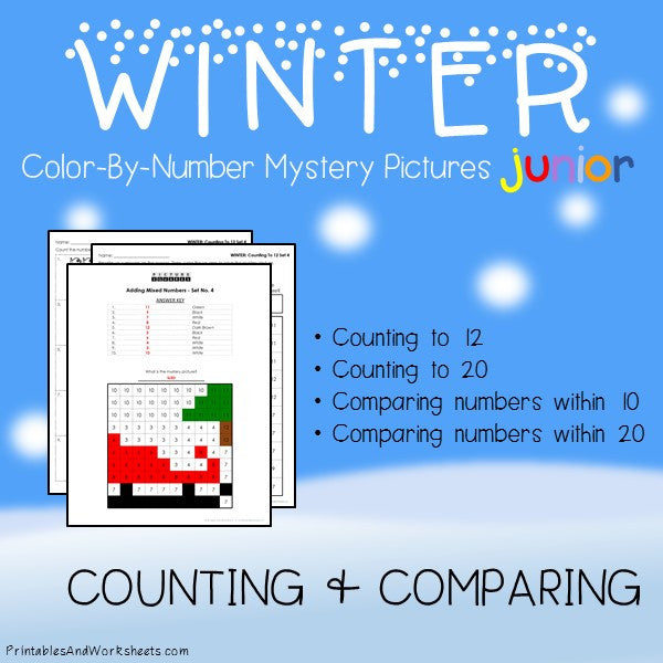 Winter Color-By-Number: Counting to 20, Greater Than/Less Than