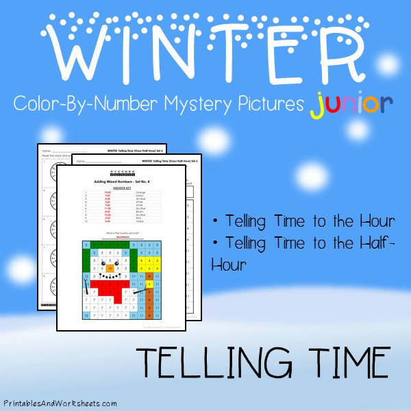 Winter Color-By-Number: Telling Time