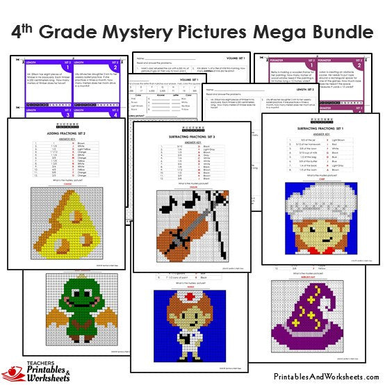 Grade 4 Math Mystery Pictures Coloring Worksheets / Task Cards - Sample 1