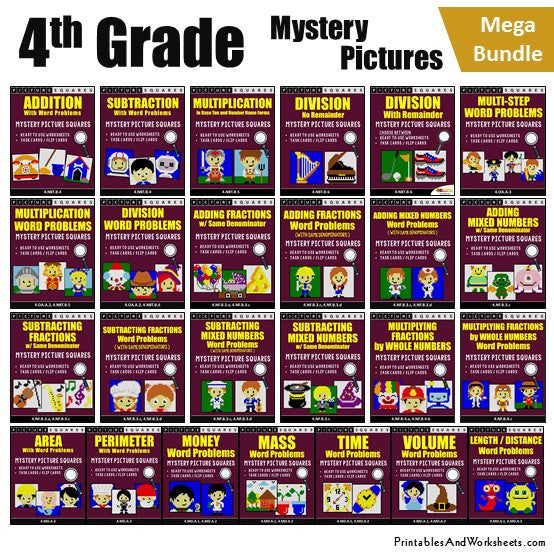 Grade 4 Math Mystery Pictures Coloring Worksheets / Task Cards
