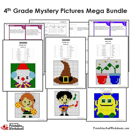 Grade 4 Math Mystery Pictures Coloring Worksheets / Task Cards - Sample 2