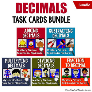 Decimals Mystery Pictures Activity Task Cards Bundle Cover