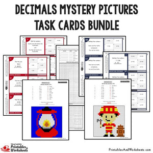 Decimals Mystery Pictures Activity Task Cards Bundle Sample 1