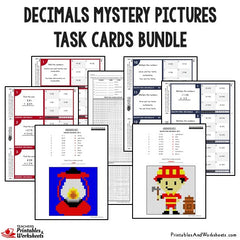 Decimals Mystery Pictures Task Cards With Coloring Worksheets Bundle