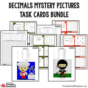 Decimals Mystery Pictures Activity Task Cards Bundle Sample 2