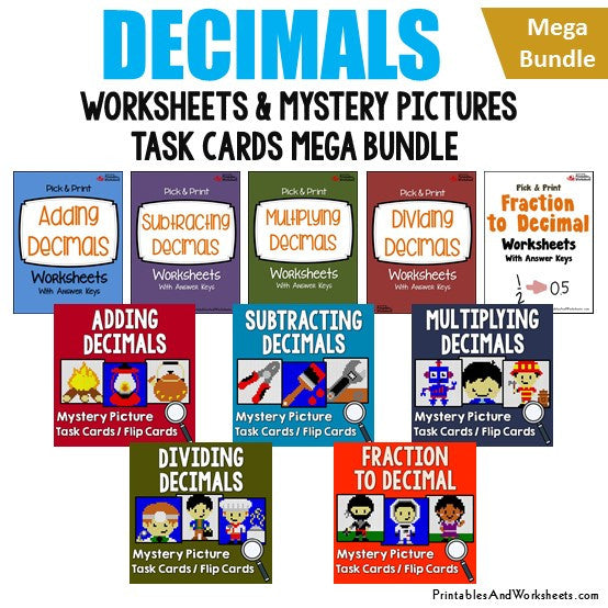 Decimals Worksheets and Mystery Picture Task Cards Mega Bundle Cover