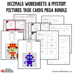 Decimals Worksheets and Mystery Pictures Task Cards Mega Bundle