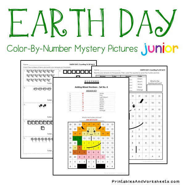 Earth Day Color-By-Number: Counting to 20, Greater Than/Less Than