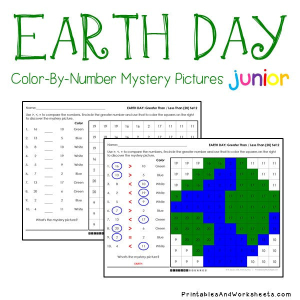 earth day color by number counting greater than less than printables worksheets. Black Bedroom Furniture Sets. Home Design Ideas