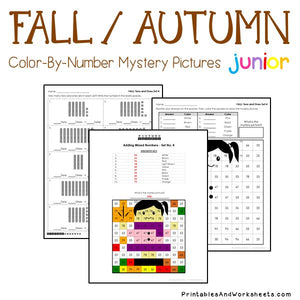 Fall/Autumn Color-By-Number: Place Value