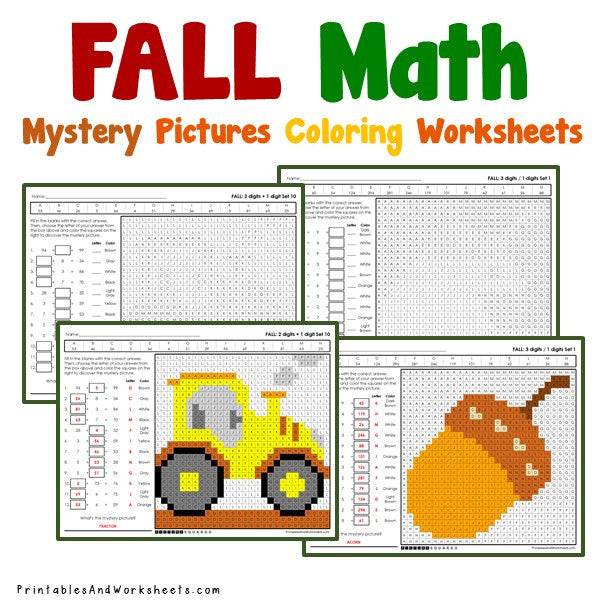 Fall/Autumn Math Coloring Worksheets