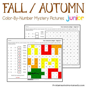 Fall/Autumn Color-By-Number: Subtraction