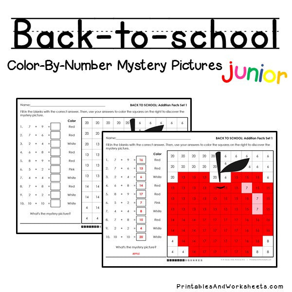 Back To School Color-By-Number - Addition