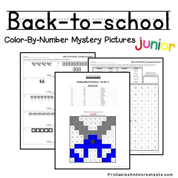 Back To School Color-By-Number: Counting to 20, Greater Than/Less Than
