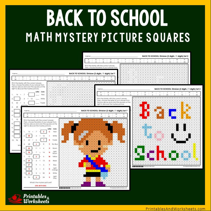 Back To School - Division Coloring Worksheets