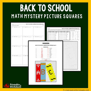 Back to School Coloring Worksheets - Decimals