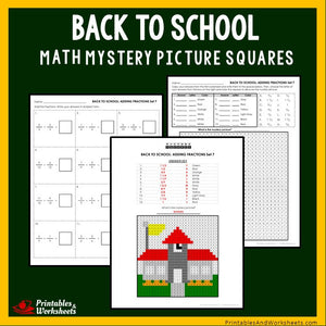 Back to School Coloring Worksheets - Fraction