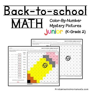 Back To School Math Color-By-Number