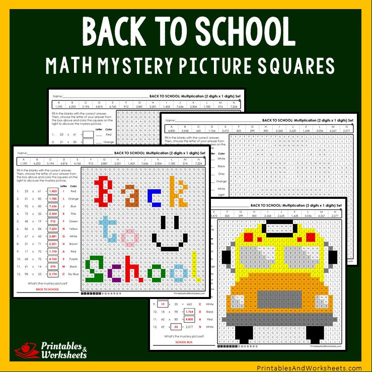 Back To School - Multiplication Coloring Worksheets