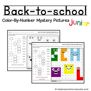 Back To School Color-By-Number - Subtraction