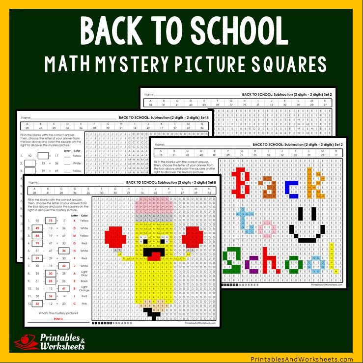 Back To School - Subtraction Coloring Worksheets