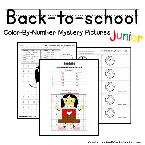 Back To School Color-By-Number: Telling Time
