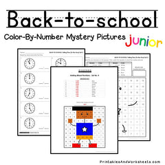 Back to School Telling Time Color-By-Number
