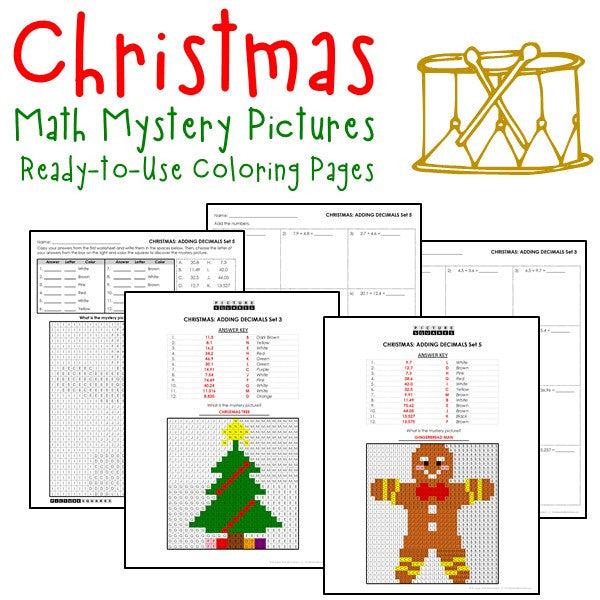 Christmas Coloring Worksheets - Decimals